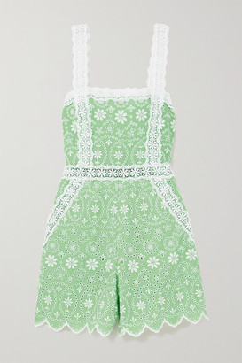 Charo Ruiz Ibiza Zuma Crocheted Lace-trimmed Broderie Anglaise Cotton-blend Playsuit - Green