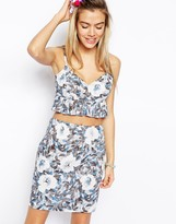 Reclaimed Vintage ASOS Cami Top With Frill In Floral Print