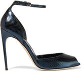 Brian Atwood Oriana metallic watersnake sandals