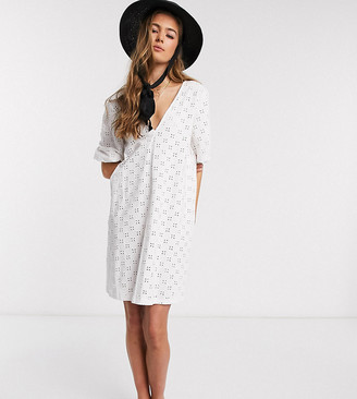 Asos Tall ASOS DESIGN Tall broderie puff sleeve v front mini swing dress in white
