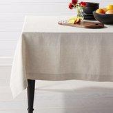 Crate & Barrel Helena Dark Natural Linen Tablecloth