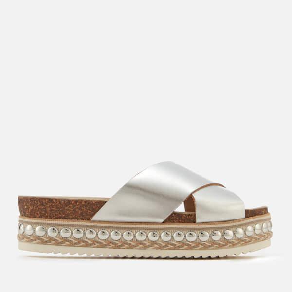 Carvela Women's Kake Leather Cross Front Flatform Sandals - Silver