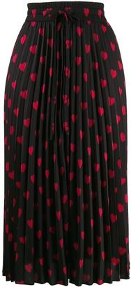 RED Valentino Heart Print Pleated Skirt