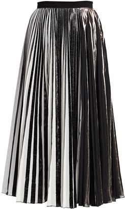 Proenza Schouler Metallic Plisse Pleated Midi Skirt