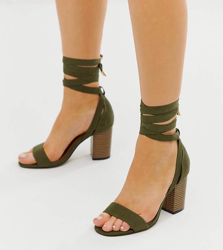 ddfaf3a01b2 Design DESIGN Wide Fit Howling tie leg heeled sandals in khaki