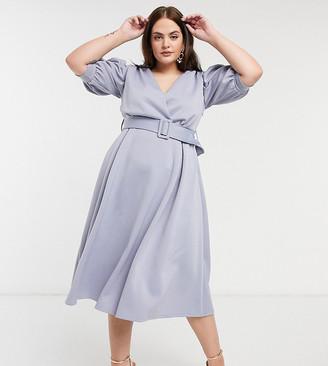 ASOS DESIGN Curve exclusive ruched shoulder belted prom midi dress in soft blue