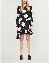 Theory Graphic-print silk-satin mini dress