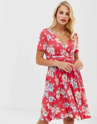 French Connection Cari Meadow floral print wrap dress-Pink