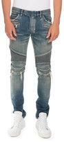 Balmain Distressed Denim Moto Jeans, Blue