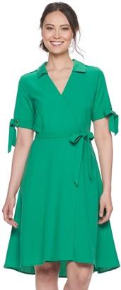 Sharagano Women's Faux-Wrap Shirt Dress