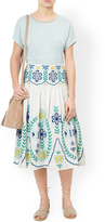 Monsoon Olive Embroidered Skirt