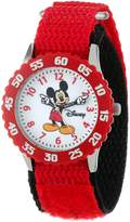 Disney Kids' W000229 Mickey Mouse Stainless Steel Time Teacher Watch with Moving Hands