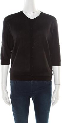 Balenciaga Black Wool Kimono Sleeve Button Front Cardigan M