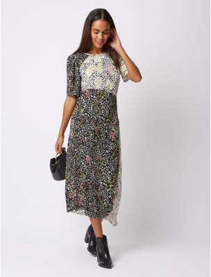 George White Panelled Floral Midi Dress