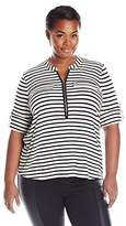 Calvin Klein Women's Plus Size Modern Essential Zip Front Roll Sleeve Blouse