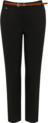 Wallis Black Belted Cigarette Trousers