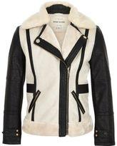 River Island Girls cream contrast fleece jacket