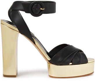 Casadei Matte And Metallic Leather Platform Sandals
