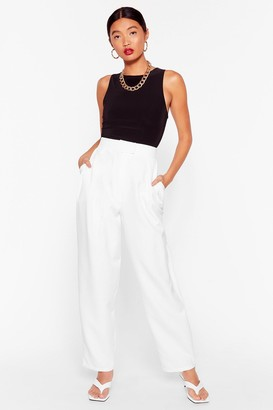 Nasty Gal Womens Get to the Bottom of It High-Waisted Tapered Pants - White