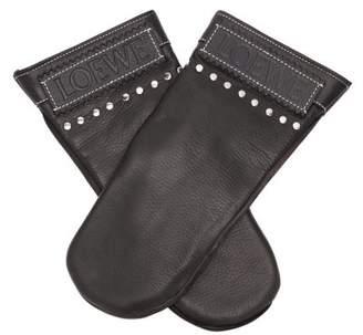 Loewe Studded Leather Mittens - Mens - Black