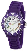 Cactus Children's Quartz Watch with White Dial Analogue Display and Purple Plastic Strap CAC-62-M09