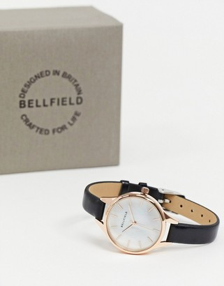 Bellfield watch with black strap and white dial