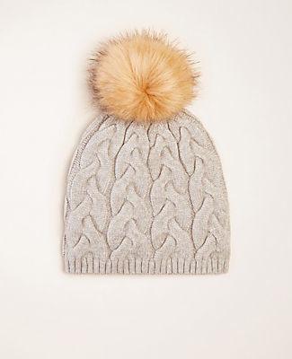 Ann Taylor Faux Fur Pom Pom Cable Hat