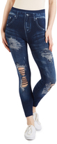 Indigo Dark Wash Distressed Jeggings