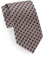 Saks Fifth Avenue Variegated Neat Diamond Silk Tie & Gift Box
