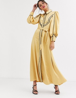 C/Meo Collective western detail shirt dress in yellow