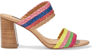 Alice + Olivia Leeda Striped Straw Mules