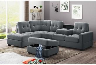 "Latitude Run Everline 207.12"" Wide Microfiber Reversible Modular Sofa & Chaise Fabric: Gray"