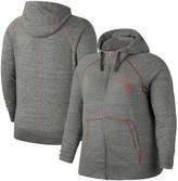 Nike Women's Heathered Gray Texas Longhorns Plus Size Gym Vintage Full-Zip Hoodie
