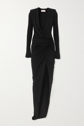 Alexandre Vauthier Ruched Stretch-jersey Maxi Dress - Black