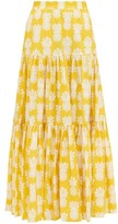 La DoubleJ Pineapple-print Tiered Cotton Maxi Skirt - Womens - Yellow Print