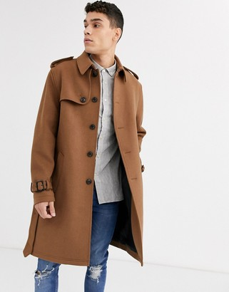 ASOS DESIGN single breasted wool mix trench coat in camel