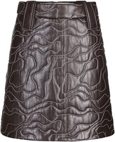 Thumbnail for your product : Ganni Wavy Stitched Leather Mini Skirt