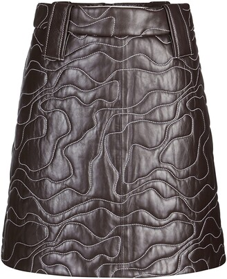 Ganni Wavy Stitched Leather Mini Skirt