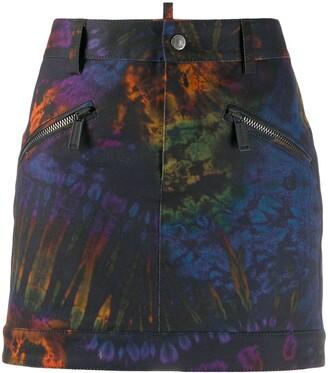 DSQUARED2 Tie-Dye Prit Denim Skirt