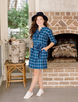 Draper James Windowpane Ruffle Shirtdress