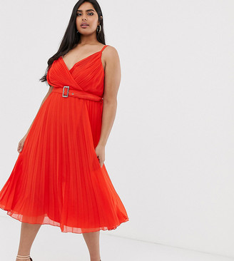 Asos DESIGN Curve pleated midi dress with cami straps and belt-Red