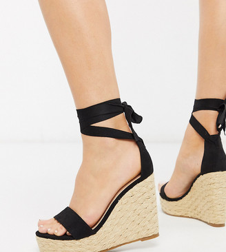 Glamorous Wide Fit espadrille wedge with ankle tie in black