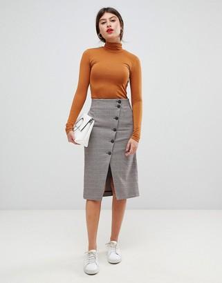 Vila button through midi skirt-Multi