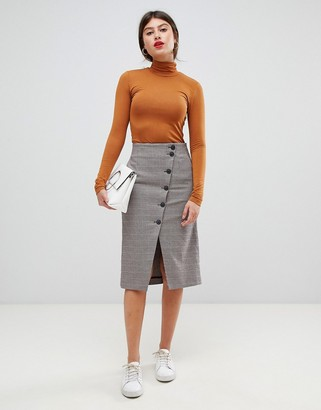 Vila button through midi skirt