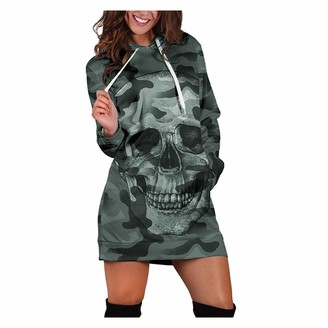 KUKICAT Women Plus Szie Casual Halloween Long Sleeve Hooded Drawstring Camouflag Gradient Skull Print Mini Dress (Small