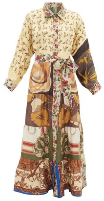 RIANNA + NINA Vintage Patchwork Silk Maxi Shirt Dress - Multi