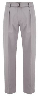 HUGO BOSS Relaxed Fit Pants In Italian Stretch Cotton Twill - Silver