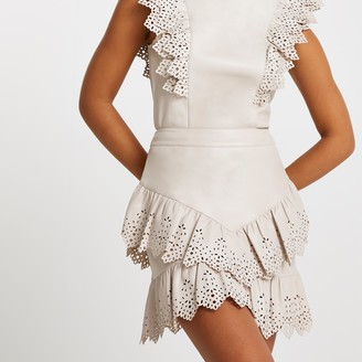 River Island Womens Cream faux leather cutwork frill mini skirt