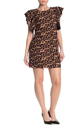 Laundry by Shelli Segal Leopard Ruffle Sleeve Mini Dress (Regular & Plus Size)