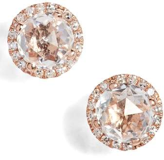 Ef Collection Diamond & Topaz Stud Earrings